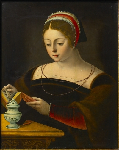 Lezende dame, als de H. Magdalena