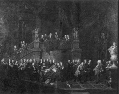 Ontvangst van J. de Cordes, burgemeester, in Jonge Voetboog