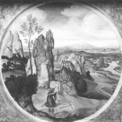 Heilige Hieronymus in een landschap