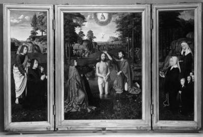 Retabel van Sint-Jan de Doper Doop van Christus, Maria met Kind, schenkers en hun patroonheiligen