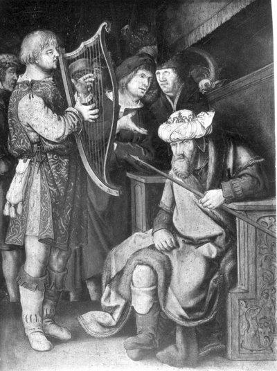 David speelt voor Saül op de harp