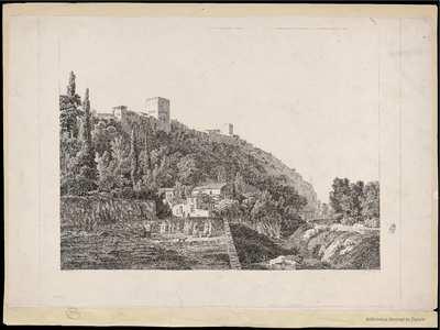 [Vista de la Alhambra tomada de las orillas del Darro] [Material gráfico]