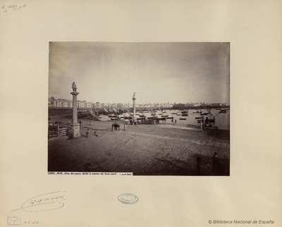 Cádiz, vista del Puerto desde la estación de ferrocarril [Material gráfico]