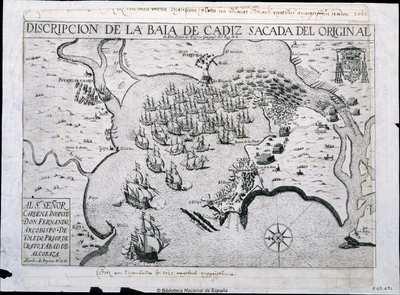 Discripcion de la Baia de Cadiz Sacada del Original de Don Pedro de Teisera Geografo del Rey N.S. [Material cartográfico]
