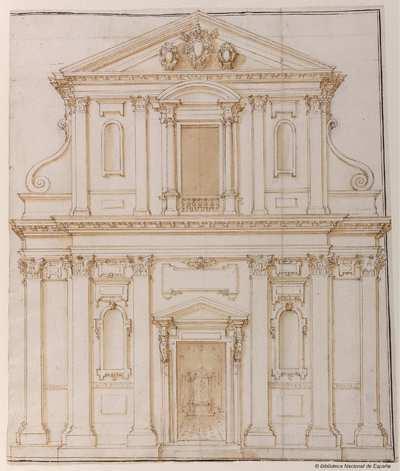 [Alzado de la fachada de la iglesia de Santa Maria dei Monti, Roma] [Material gráfico]