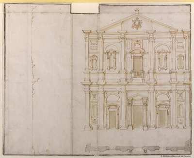 [Alzado, planta y perfil de la fachada de la iglesia de San Luigi dei Francesi, Roma] [Material gráfico]