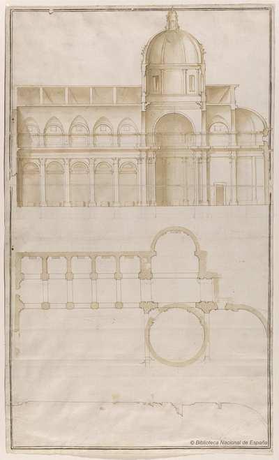 [Planta, perfil y sección longitudinal de la iglesia de San Giovanni dei Fiorentini, Roma] [Material gráfico]