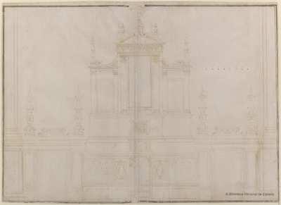 [Alzado de la trasera del altar de la iglesia de Santa Maria de'Servi, Bolonia] [Material gráfico]