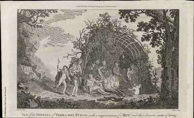 View of the INDIANS of TIERRA DEL FUEGO, with a representation of a HUT , and their domestic mode of living [Material gráfico]
