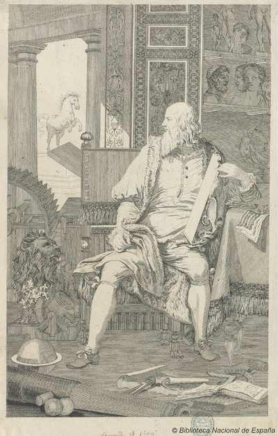 [Retrato de Leonardo da Vinci en su estudio en Milán] [Material gráfico]
