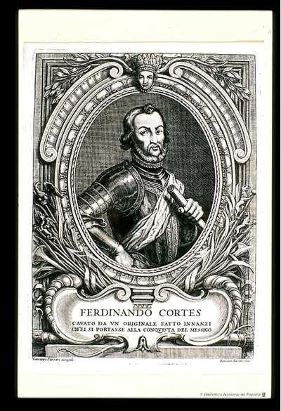 [Retrato de Hernán Cortes] [Material gráfico]Ferdinando Cortés Cavato da un originale fatto innanzi ch'ei si portasse alla conquista del Messico..Gioseppe Passari disegno. Benedetro Farjat Sculp.