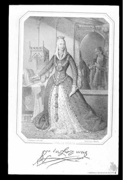 [Retrato de la Católica Isabel I] [Material gráfico]D. Valdivieso inv.ø y lit.ø Lit. de Donón. Madrid