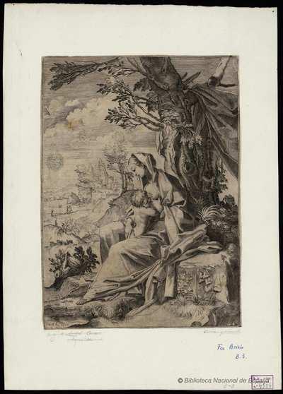 [La Virgen amamantando al Niño en un paisaje] [Material gráfico]
