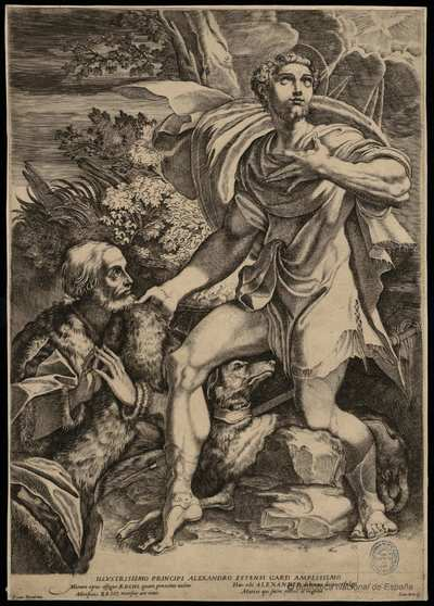 [San Roque intercediendo ante la Divina Providencia por un caballero anciano] [Material gráfico]