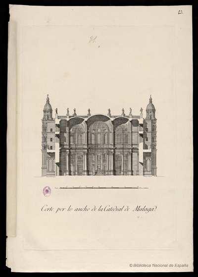 Corte por lo ancho de la Catedral de Malaga [Material gráfico]