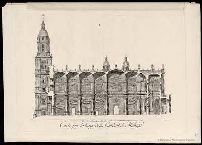Corte por lo largo de la Catedral de Malaga [Material gráfico]