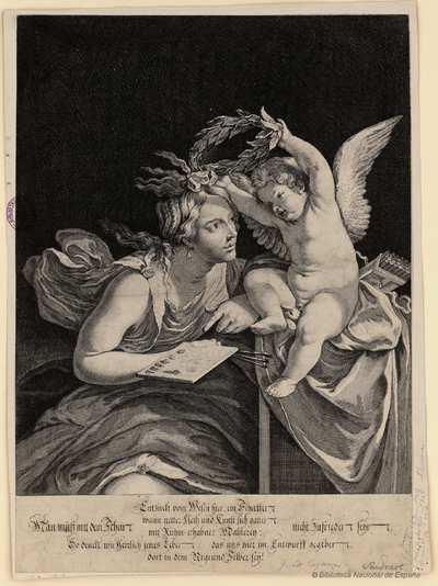 [Cupido coronando a la musa de la pintura] [Material gráfico]