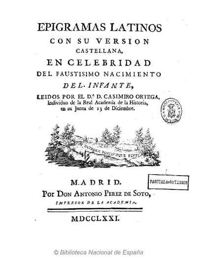 Image from object titled Epigramas latinos con su version castellana, en celebridad del faustisimo nacimiento del Infante