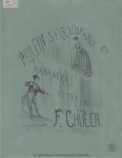 Image from object titled Por fin se le voy a dar [Música notada]: habanera para canto y piano