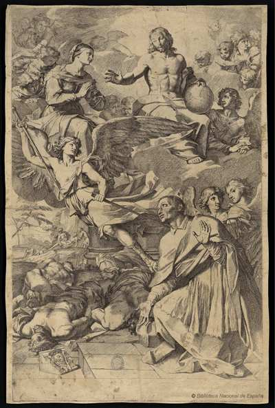 [San Carlos Borromeo rezando para liberar a Milán de la peste] [Material gráfico]