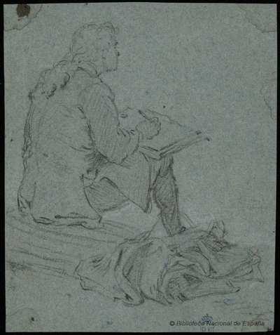 [Hombre sentado dibujando] [Material gráfico]
