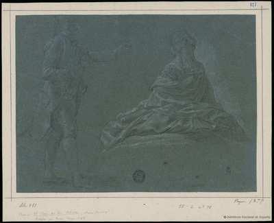[Hombre de pie y mujer sentada en el suelo] [Material gráfico]