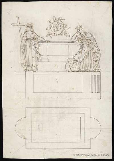 [Croquis para el sarcófago del cenotafio erigido en la iglesia de San Isidro para las exequias del rey Fernando VII]