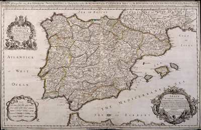 Spain Divided into its severall Kingdoms and Principalities, according as they are comprehended under the Crowns of Castile and Aragon, In the Possession of his Catholick Majesty, And under the Crown of Portugal, in the...