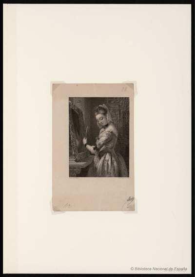 [Mujer joven ante un espejo] [Material gráfico]