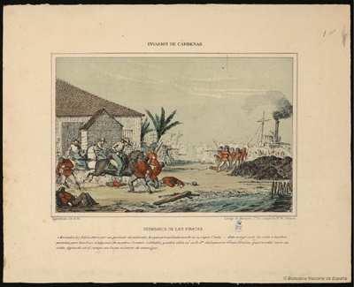 Reembarco de los piratas [Material gráfico]