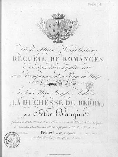 Image from object titled Vingt septième et vingt huitième recueil de romances à une, deux, trois ou quatre voix avec accompagnement de piano ou harpe [Música notada]