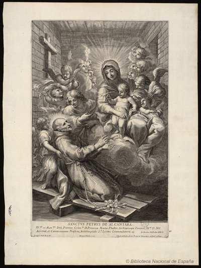[Retrato de San Pedro de Alcantara] [Material gráfico]Lazarus Bald in. et del. Io. Iacob de Rubeis formis. Romae ad Temp. pacis cu Priuil S. Pont. Bernard. Bailiu Sculp. ..Según Le Blanc, la lámina pertenece a la...