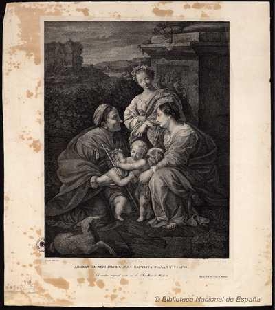 ADORAN AL NIÑO JESÚS S. JUAN BAUTISTA S.ª ANA y S.ª ISABEL [Material gráfico]
