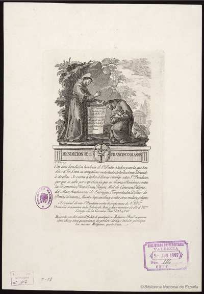 Bendición de S. Francisco de Asis [Material gráfico]