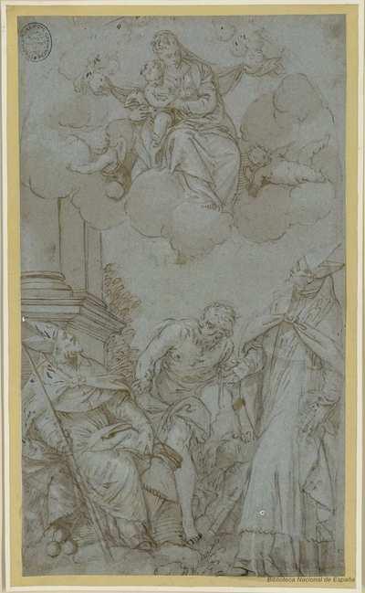 [La Virgen y tres santos] [Material gráfico]