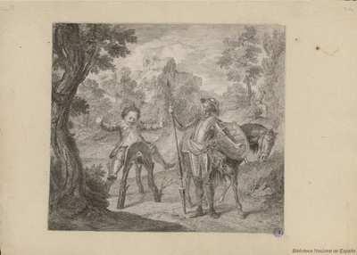 [Don Quijote y Sancho descubren al amanecer que Ginés de Pasamonte les ha robado el rucio]