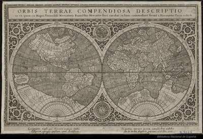 Orbis Terrae Compendiosa Descriptio ex ea, quam ex Magna Universali Mercatoris Rumoldus Mercator fieri curabat in hanc Commodiore[m] forma[m] a Hieronymo Porro redacta [Material cartográfico]