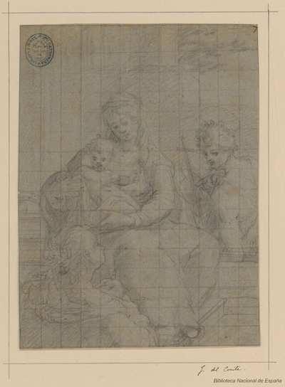 [La Virgen, San Juan Bautista y Santa Inés] [Material gráfico]