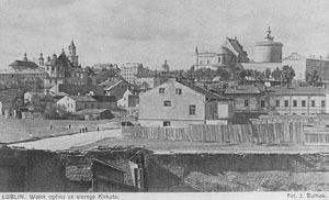 Widok ze Starego Kirkutu na Kalinowszczyźnie na Stare Miasto i dzielnicę żydowską w Lublinie