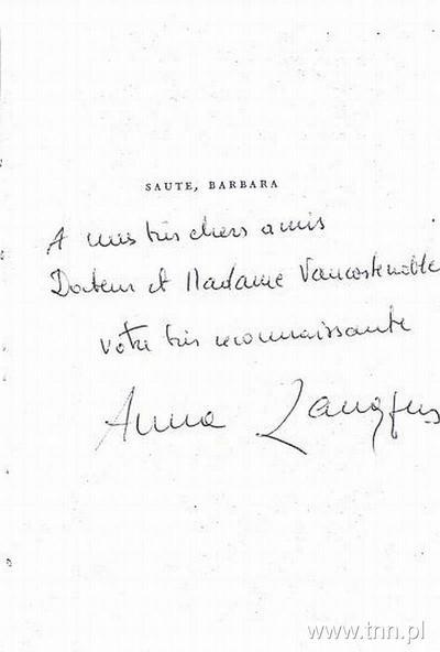 """Anna Langfus - autograf w książce """"Saute, Barbara"""""""