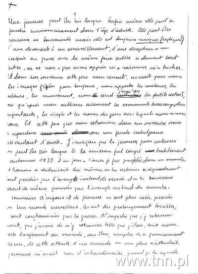 """rękopis tekstu wspomnieniowego Anny Langfus, """"Moja młodość"""" (notatki do programu radiowego)"""