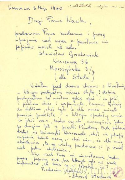 List E. Stachury do K. Zająca
