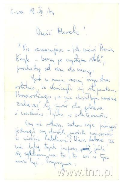List E. Stachury do M. Dereckiego