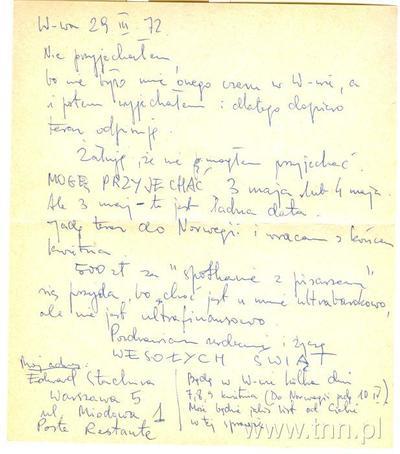 List E. Stachury do W. Zossel