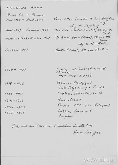 Image from object titled Lista adresów zamieszkania Anny Langfus