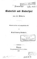 Image from object titled Alemannisches Kinderlied und Kinderspiel aus der Schweiz