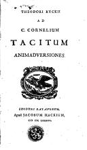 Image from object titled Theodori Ryckii ad C. Cornelium Tacitum animadversiones