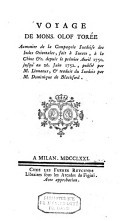 Image from object titled Voyage de Mons. Olof Torée aumonier de la Compagnie suédoise des Indes Orientales, fait à Surate, à la Chine &c. depuis le prémier Avril 1750. jusqu'au 26. Juin 1752