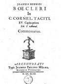 Image from object titled In C. Cornel. Taciti XV capita priora lib. I annal. commentarius