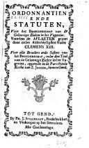 Image from object titled Ordonnantien ende statuten voor het broederschap van de geloovige zielen in het Vagevier